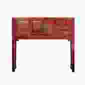Chinese Oriental Rustic Red Lacquer Drawers Side Table cs5404S