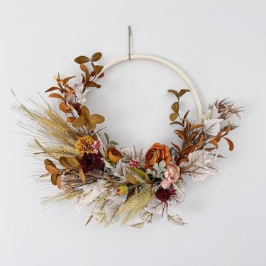 White, Brown and Burnt Orange Fall Neutral minimalist Boho dried flower wreath, Boho flower arrangement by NovaWreaths