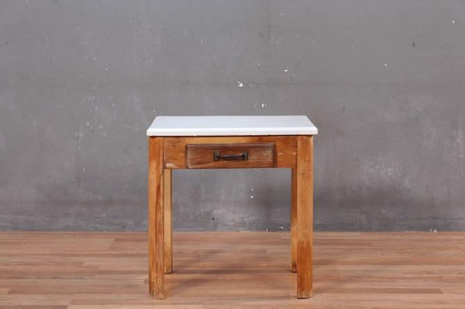 Rustic Enamel-Top 1-Drawer Side Table