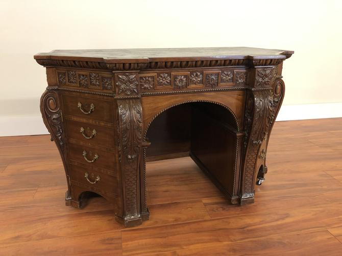 Vintage Mahogany Carved Desk with Leather Top