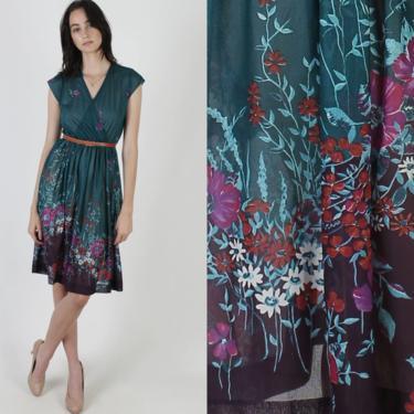 Vintage Floral Wrap Dress / Aqua Deep V Neck Flower Dress / 70s Sheer Wildflower Print Skirt / Light Sleeveless Day Party Mini Dress by americanarchive