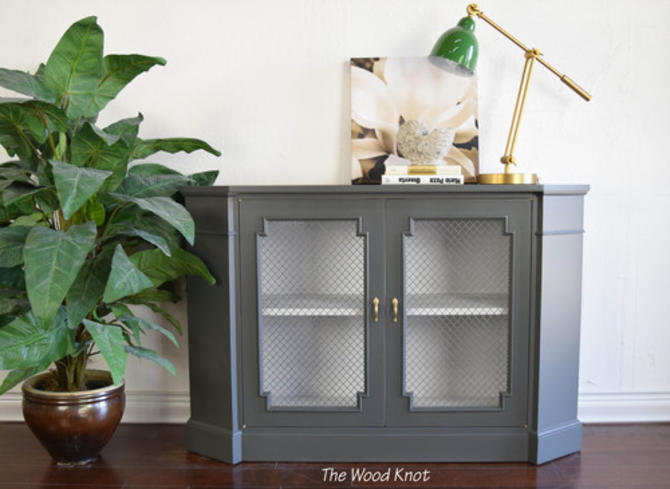 Gray And White Console Table With Wire Mesh