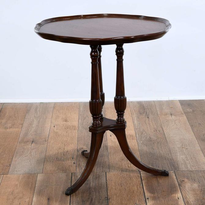 Chippendale Pie Crust End Table W 3 Turned Pedestals