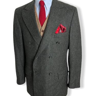 Vintage POLO Ralph Lauren Double Breasted Wool TWEED Blazer ~ 42 R ~ sport coat / jacket ~ Ivy League / Preppy / Trad ~ University Club by SparrowsAndWolves