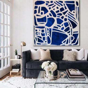"""CUSTOM ORDER for Zoe Szumal-Blue & White LARGE 60""""x60"""" Unstretched Canvas Painting Abstract Minimalist Original Contemporary Art by ArtbyDinaD"""