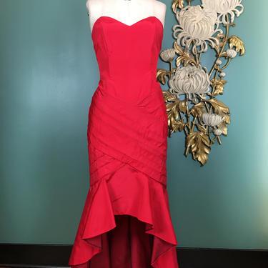 1980s prom dress, vintage formal dress, 80s gunne sax, mermaid dress, red satin dress, asymmetrical dress, strapless dress, size small, 27 by BlackLabelVintageWA