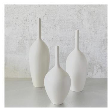 Set of 3 Small Ceramic Bottle Vases in Matte White Glaze by Sara Paloma Pottery, modern pure white bud vase mid century minimal shelf decor by sarapaloma