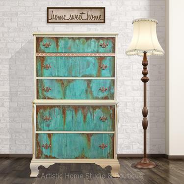 Unique Copper Patina & Rust Tallboy Dresser