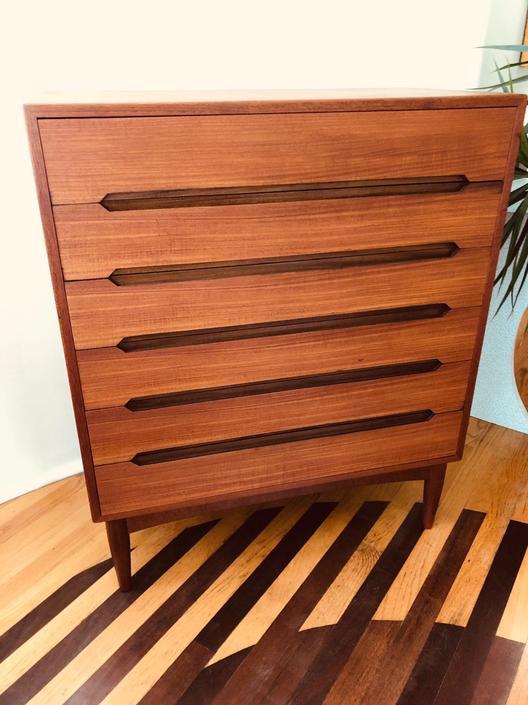 Vintage Mid Century Modern Danish Teak 6 Drawer Dresser by BentwoodVintage