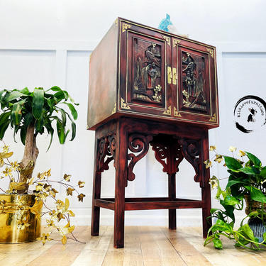 Oriental Chest. Boho Painted Dry Bar. Asian Inspired Cupboard. Dining Room Storage Cabinet. Colorful Entryway Cabinet. Chinoiserie Cabinet. by withlovefurniture10