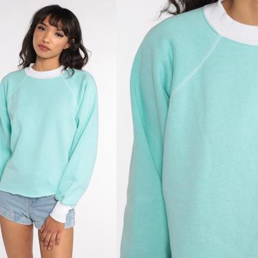 Raglan Sweatshirt Aqua Blue Sweatshirt Ringer Shirt Sports 80s Sweater Pullover 1980s Vintage Retro Long Sleeve Large by ShopExile