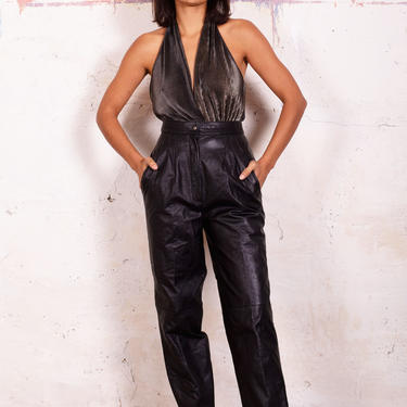 Vintage 1980s Pleated High Waisted Leather Trousers sz 2-4 Black Moto Pants 80s Pocketed by backroomclothing