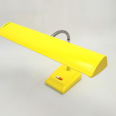 Mid Century Modern Yellow Lamp Industrial Steel Art Deco Antique Goose Neck Tanker Desk Light Table Lamp Adjustable Office Lighting by MakingMidCenturyMod