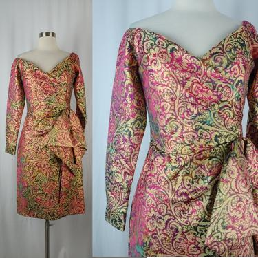 Vintage Eighties Victor Costa I. Magain Jacquard Dress - 80s Off the Shoulder Cocktail Dress - XS Colorful Gold Print Long Sleeve Dress by JanetandJaneVintage