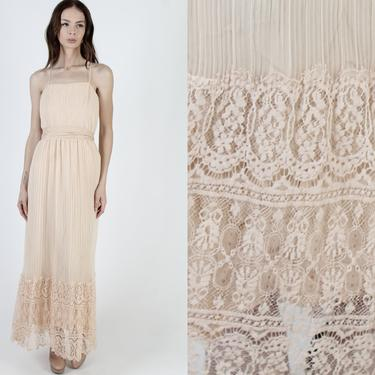 Miss Elliette Nude Chiffon Maxi Dress / Long Sheer See Through Tiered Skirt / 70s Floral Pleated Scallop Lace / Tiered Disco Wedding Maxi by americanarchive