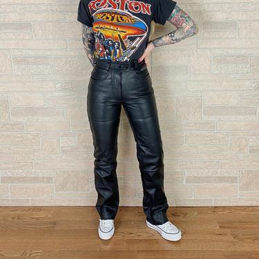 Genuine Leather Hein Gericke High Rise Black Leather Moto Pants / Size XXS 22 23 by NoteworthyGarments