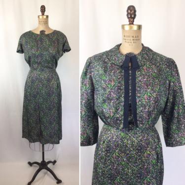 Vintage 50s dress suit   Vintage floral wiggle dress bolero jacket   1950s Bloomfield two piece dress suit by BeeandMason