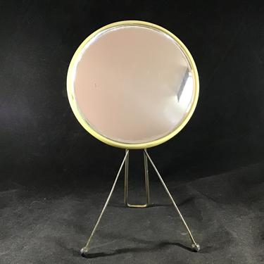 Vintage Folding Leg Vanity Mirror - Legs fold into the base and then can be used for hand mirror or stored in drawer-Vintage plastic backing by accokeekpickers