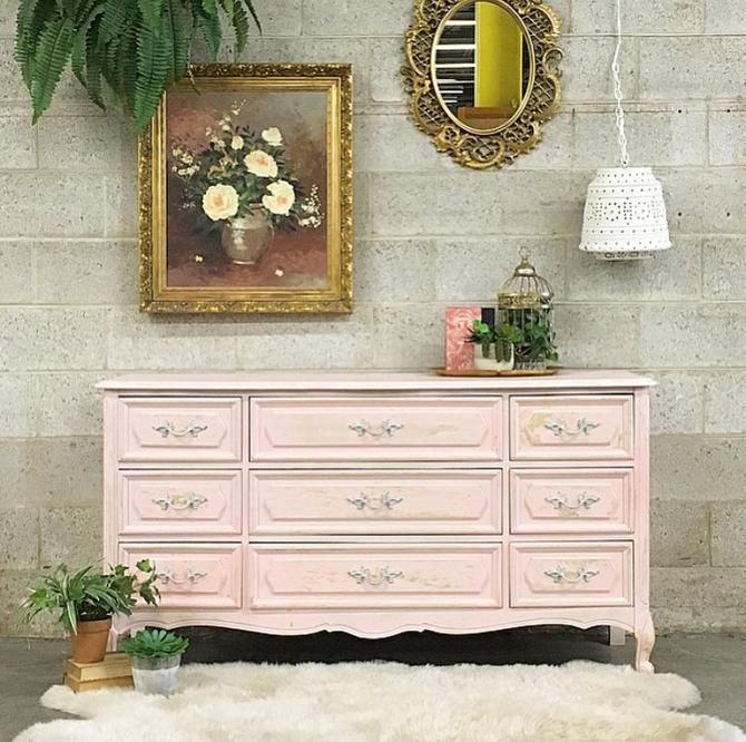 LOCAL PICKUP ONLY Vintage Dresser Retro 1960s Light Pink Ornate Carved Wood  + 9 Drawer Bureau + Lion\'s Feet by Henry Link Bedroom + Storage by ...