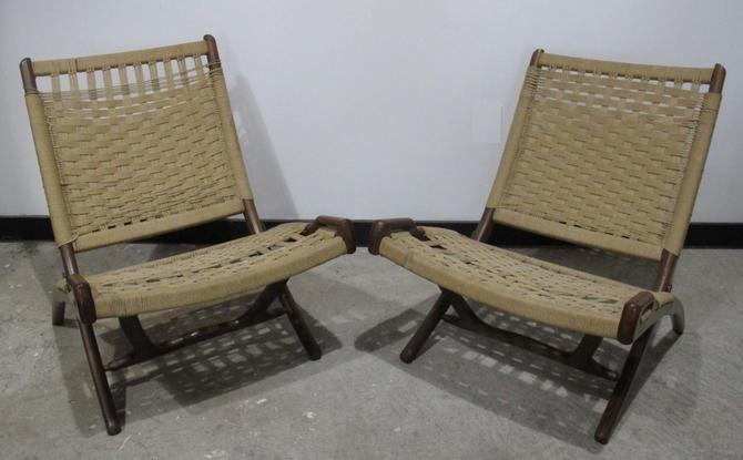 Enjoyable Pair Of Hans Wegner Style Folding Rope Chairs Danish Mid Ocoug Best Dining Table And Chair Ideas Images Ocougorg