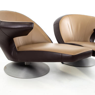 Leolux Leather Swivel Chaise Lounge Chairs - Pair - mcm by ModernHill