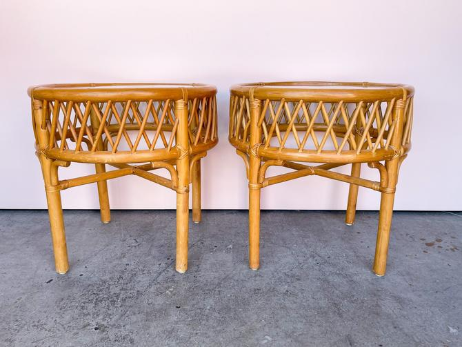 Pair of Ficks Reed Rattan Side Tables