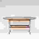 Walnut and Aluminum Drop Leaf Console table by Founders