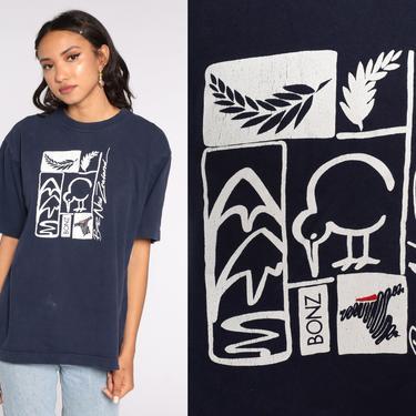 Bonzo New Zealand Shirt Vintage 90s Kiwi Bird Tshirt Distressed Graphic Tshirt New Zealand Tee Retro T Shirt Navy Blue Large l xl by ShopExile