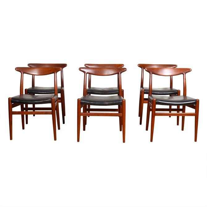 Hans Wegner Leather Set of 6 Danish Modern Teak W2 Dining Chairs