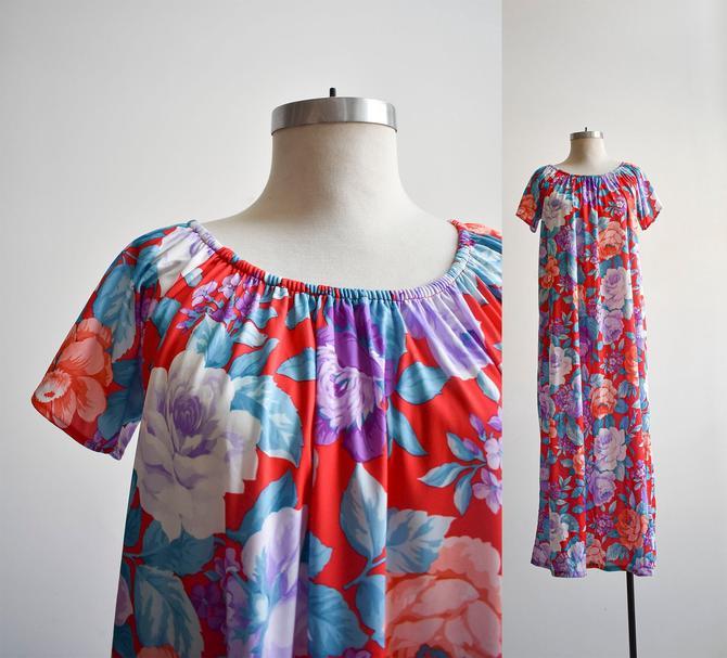 70s Purple & Blue Floral Summer Maxi Dress by milkandice