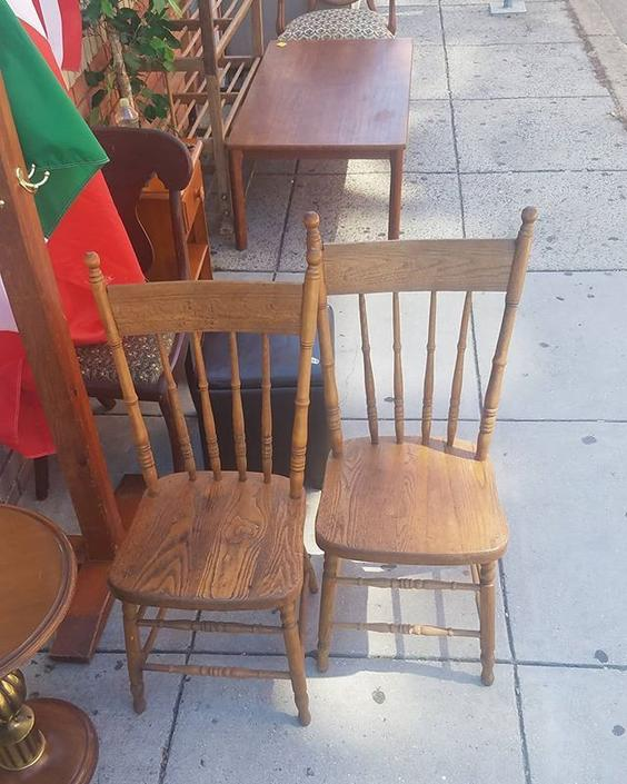 SOLD.                   Pair of Chestnut Seat Kitchen Chairs