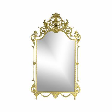Louis XVI Style Cast Brass Wall Mirror w Floral Urn and Scrolling Foliate Motifs by PrairielandArt