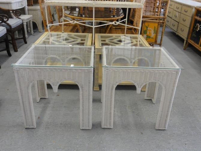 Palm Beach Moroccan Style Wicker Side Tables
