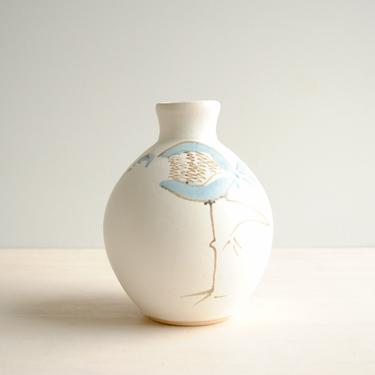 Vintage Hand Painted Bird Vase, White and Blue Pottery Vase with Water Bird Design by LittleDogVintage