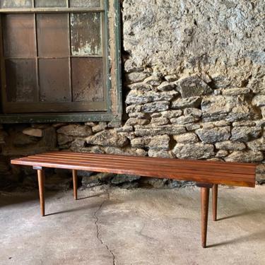 Mid century slat bench Danish modern slat bench coffee table mid century bench by VintaDelphia