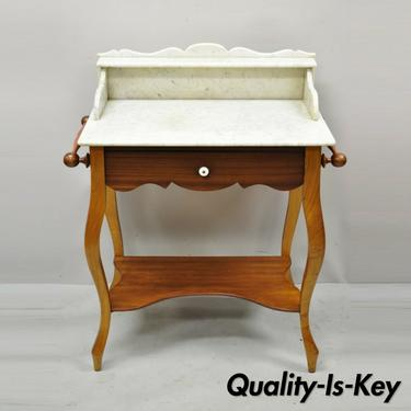 Antique American Victorian Mahogany Washstand Commode Marble Top Vanity