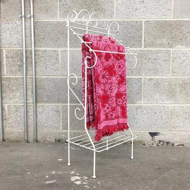 Vintage Blanket Rack Retro 1970s White Metal Frame + Shelved + 4 Hanging Wire Bar + Quilt + Blanket + Towel Rack + Living Room + Home Decor by RetrospectVintage215
