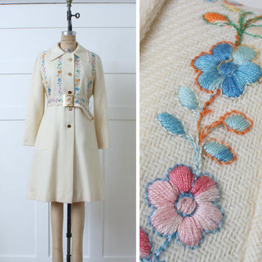 vintage 1960s coat with pastel embroidered flowers • ivory woven wool full length belted dress coat with embroidery by LivingThreadsVintage