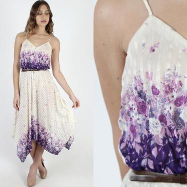 Purple Floral Dress V Neck Ivory Striped Asym Hanky Hem Sheer 1970s Disco Shoulder Ties Party Sun Mini Dress by americanarchive