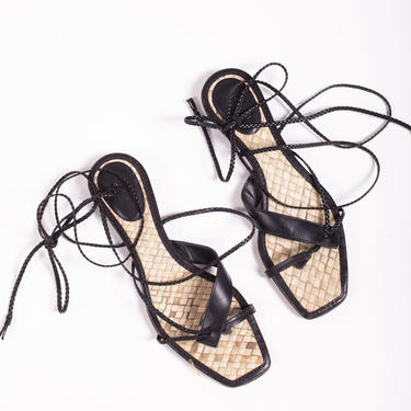 GUCCI Y2K Braided Black Leather Lace Up Sandals with Raffia Base 6.5 Tom Ford Gladiator Thong Woven Minimal by backroomclothing