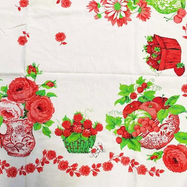 Vintage Country Farm Tablecloth Strawberry Print Pattern Mid-Century Retro Table Cloth Dining Kitchen Home Decor Linen Square Strawberries by CheckEngineVintage