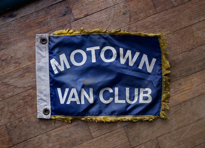 Vintage 1960s MOTOWN VAN CLUB Motorcade Flag Lodge Meet Swap Fringe Ratrod Barnfind Retro Mid-Century Detroit Motor City Car by BrainWashington
