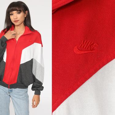 Nike Track Jacket Zip Up Sweatshirt 80s Streetwear Red Grey Retro Striped COLOR BLOCK 1980s Vintage Men Sports Medium by ShopExile