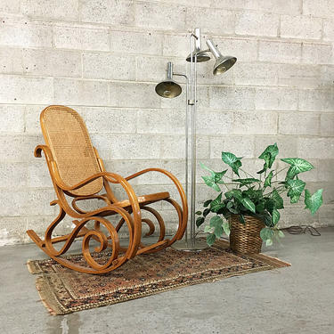Vintage Rocking Chair Retro  Marcel Breuer Style Woven Cane and Wood Frame Thonet Style Moving Recliner  LOCAL PICKUP ONLY by RetrospectVintage215