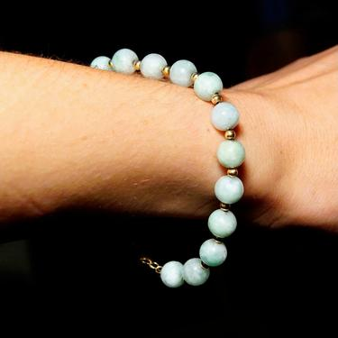"""Vintage 14K Gold Jade Bead Bracelet, Light Green Jade, Single Strand, Yellow Gold Bead Spacers & Clasp, 585 Jewelry, 7 3/4"""" L by shopGoodsVintage"""