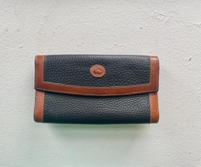 Vintage Dooney and Bourke Black and British Tan Brown Checkbook Organizer Wallet by BlackcurrantPreserve