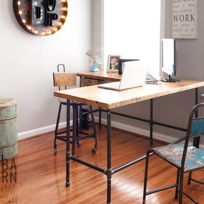 L-Shaped Desk with reclaimed wood top and black pipe leg base.  Choose size, height, return side and finish.  Custom orders welcome. by UrbanWoodGoods