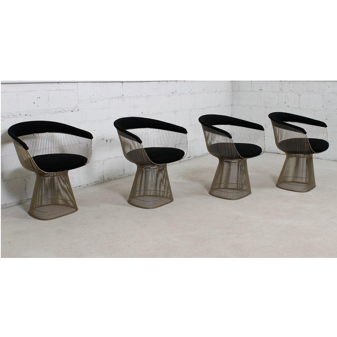 Set of 4 Mid Century Wire Warren Platner Dining Chairs