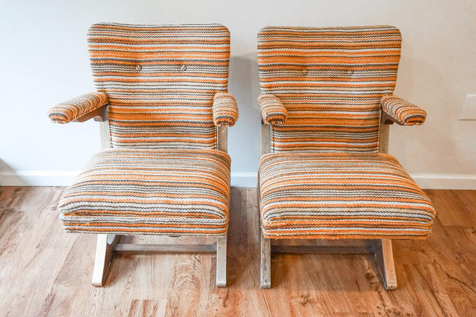 Two Unique Cushioned Cantilever McKay Spring  Style Rocking Chairs With Vintage Upholstery (Sold Separately) by PortlandRevibe