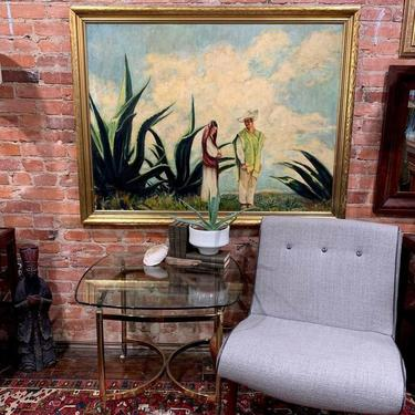 Aloe wedding (oil on canvas), brass based side / coffee table with modern gray chair (pair)